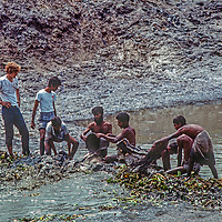 Photographer Gordon Wiltsie helps homeless people dig a fish pond to feed their neighbors at Mirpur Destitute Camp near Dhaka Bangladesh in 1977.