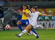Beijing, CHINA.   Olympic Football, Women's Gold  Medal Game, USA vs BRA,  BRA's MARTA and Christie RAMPONE  chase the ball during the final, at the Beijing Workers Stadium. Thursday,  21.08.2008 [Mandatory Credit: Peter SPURRIER, Intersport Images]