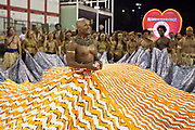 Carlinhos Willow and Salgueiro Samba School doing the final practice performance of their Carnival procession in the Sambadrome, Rio de Janeiro, Brazil