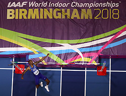 USA's Erik Kynard in action during the Men's High Jump during day one of the 2018 IAAF Indoor World Championships at The Arena Birmingham, Birmingham. PRESS ASSOCIATION Photo. Picture date: Thursday March 1, 2018. See PA story ATHLETICS Indoor. Photo credit should read: Simon Cooper/PA Wire.