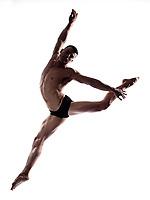caucasian man gymnastic  leap postureisolated studio on white background