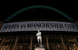 A view of the Statue of Bobby Moore outside Wembley before the Premier League match between Tottenham Hotspur and Manchester City.