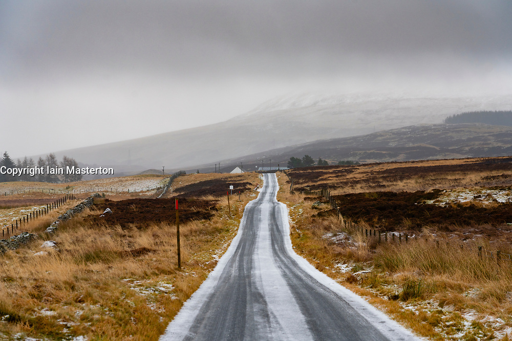 Amulree, Perthshire, Scotland, UK. 16th Dec 2019. The single-track U173 Kenmore to Amulree road seen during a wintry snow fall today. Police and Perth and Kinross Council plan to close a five-mile long stretch of the scenic road through Glen Quaich for 17 weeks from 23 Dec 2019 because it is too dangerous in snow and ice. The road through Glen Quaich is regarded as one of the most picturesque, and dangerous, in Perthshire. Iain Masterton/Alamy Live News