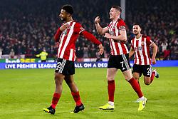 Lys Mousset of Sheffield United celebrates scoring a goal to make it 2-0 - Mandatory by-line: Robbie Stephenson/JMP - 24/11/2019 - FOOTBALL - Bramall Lane - Sheffield, England - Sheffield United v Manchester United - Premier League