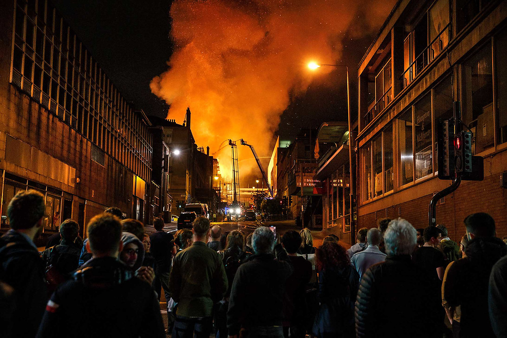 Fire at Glasgow School of Art. <br /> <br /> Picture Robert Perry 16th June 2018<br /> <br /> Must credit photo to Robert Perry<br /> FEE PAYABLE FOR REPRO USE<br /> FEE PAYABLE FOR ALL INTERNET USE<br /> www.robertperry.co.uk<br /> NB -This image is not to be distributed without the prior consent of the copyright holder.<br /> in using this image you agree to abide by terms and conditions as stated in this caption.<br /> All monies payable to Robert Perry<br /> <br /> (PLEASE DO NOT REMOVE THIS CAPTION)<br /> This image is intended for Editorial use (e.g. news). Any commercial or promotional use requires additional clearance. <br /> Copyright 2018 All rights protected.<br /> first use only<br /> contact details<br /> Robert Perry     <br /> <br /> no internet usage without prior consent.         <br /> Robert Perry reserves the right to pursue unauthorised use of this image . If you violate my intellectual property you may be liable for  damages, loss of income, and profits you derive from the use of this image.