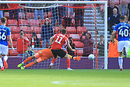 GOAL Lyndon Gooch scores from the penalty spot 2-0 during the EFL Sky Bet League 1 match between Sunderland and Rochdale at the Stadium Of Light, Sunderland, England on 22 September 2018.