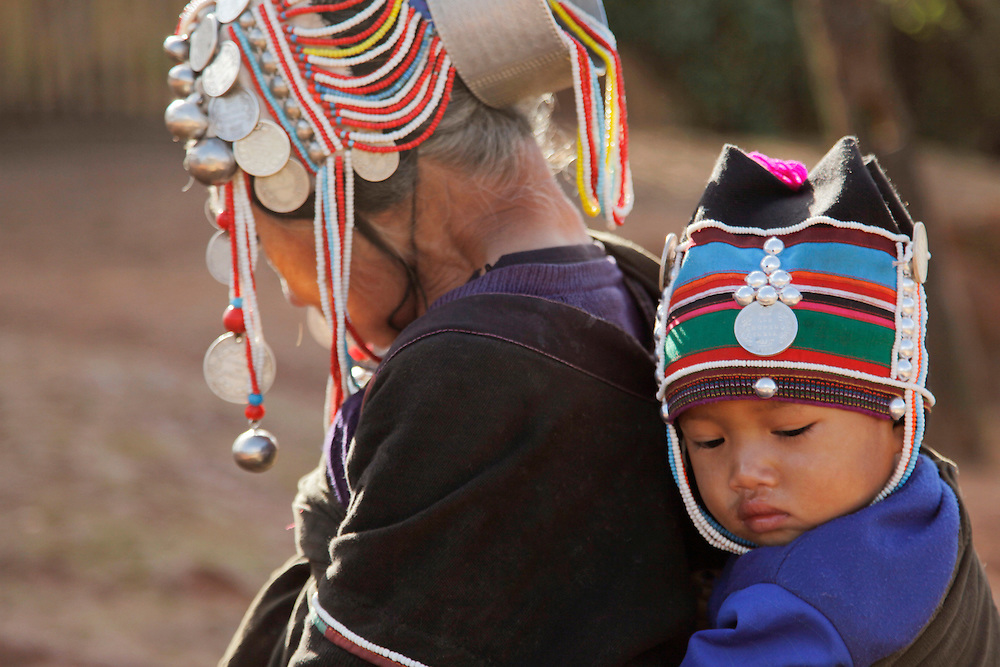 Mother and child. Traditional hill tribe dress. Myanmar