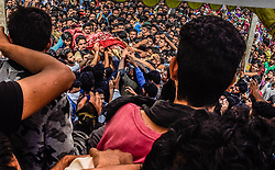 July 30, 2017 - Gulzar-Pora, Jammu and Kashmir, India - Kashmiri Muslims carry the body of Shariq Ahmad who was one of the two Hizb rebels killed in an overnight gun battle with Indian forces during his funeral on July 30, 2017 in Gulzar Pora, 40 kilometer (25 miles) south of Srinagar, the summer capital of Indian administered Kashmir, India.  Riyaz Naikoo, a top commander of Kashmir's largest rebel group Hizbul Mujahideen, showed up along with one of his associates at the funeral of Shariq Ahmad who was one of the two Hizb rebels killed in an overnight encounter with Indian forces in southern Pulwama district on Sunday . Addressing a mammoth gathering of people, Naikoo said as part of a ploy to defame the  freedom struggle of Kashmiris certain elements were trying to link it to groups like Al-Qaeda and ISIS. Naikoo's statement comes days after Zakir  Musa, a  breakaway  rebel denounced by the Hizb for expressing support for Al-Qaeda and ISIS, was named as the head of Al-Qaeda's Kashmir wing according to media reports. (Credit Image: © Yawar Nazir via ZUMA Wire)