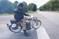Ryan Allen of NM on his 1916 Indian during the Motorcycle Cannonball Race of the Century. Stage-1 from Atlantic City, NJ to York, PA. USA. Saturday September 10, 2016. Photography ©2016 Michael Lichter.