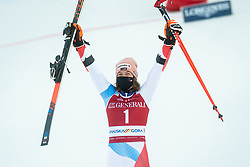 Third placed Michelle Gisin (SUI) celebrates during 2nd Run of Ladies' Giant Slalom at 57th Golden Fox event at Audi FIS Ski World Cup 2020/21, on January 16, 2021 in Podkoren, Kranjska Gora, Slovenia. Photo by Vid Ponikvar / Sportida