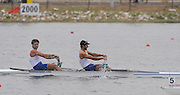 Marathon, GREECE, GRE M2-. Bow, Georgios TSIOMPANDIS and Pavios GAVRIILIDES winning the Gold medal  in the men's pair final, at the FISA European Rowing Championships.  Lake Schinias Rowing Course, SAT. 20.09.2008  [Mandatory Credit Peter Spurrier/ Intersport Images] , Rowing Course; Lake Schinias Olympic Rowing Course. GREECE