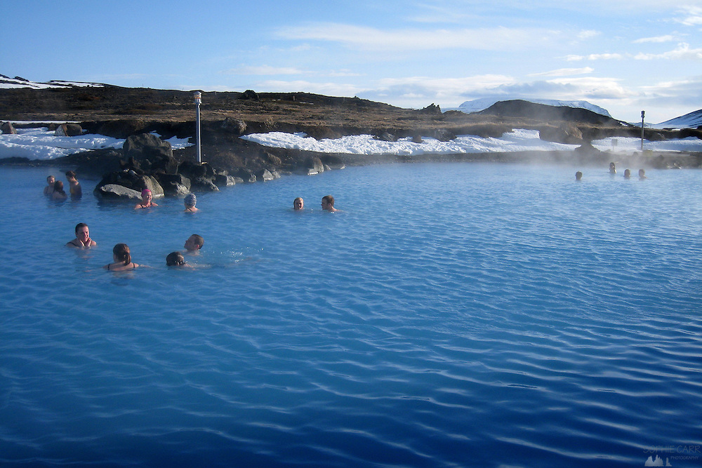 In northern Iceland, near Lake Myvatn are the Myvatn Baths, a naturally occurring hot spring which has been turned into a public bath house; it is far nicer and quieter than the ones near Keflavik airport, and the views are wonderful