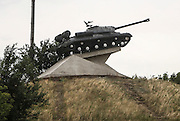 On the road to MH17 crash site near the village of Hrabovo near the city of Torez in East Ukraine. A military sculpture near the periphery of Donetsk.