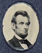 Political campaign button for the 1864  United States Presidential election showing bust portrait of Abraham Lincoln (1809-1865), facing right. Photograph by Barady, 8 January 1864.