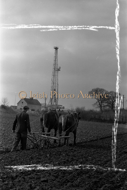 22/03/1963<br /> 03/22/1963<br /> 22 March 1963<br /> Farmer ploughing near the  Ambassador Oil rig at Lismaine, Ballyragget, Co. Kilkenny.