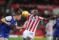 Stoke City's Saido Berahino (right) in action