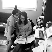 In addition to being a single mom of two kids, Erin works from home managing communications for companies dealing with Covid-19. With all schools going to remote learning, she now also manages her kids schoolwork. Brooklyn, in 3rd grade, works with her mom on schoolwork.