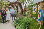 HRH the Countess of Wessexwith veterans, patron of the charity, on Blind Veterans UK: its all about Community Garden by Andrew Fisher Tomlin and Dan Bowyer - The Hampton Court Flower Show, organised by the Royal Horticultural Society (RHS). In the grounds of the Hampton Court Palace, London.