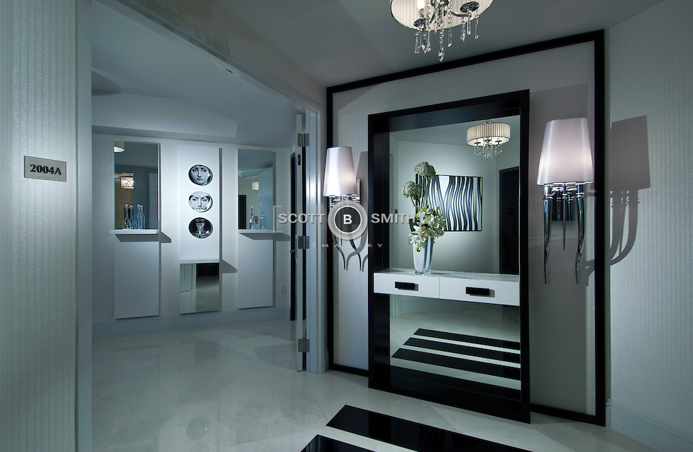 Interior design firm Britto - Charette final results in a condominium model at the Ritz-Carlton Residences, Singer Island, Florida.  Willoughby Construction of Jupiter, Florida conducted the built out.