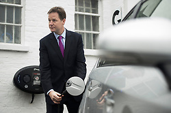 © London News Pictures. 30/01/2014. London, UK. Deputy Prime Minister NICK CLEGG during a visit to Ace Cafe in North London where he announced a multi million pound funding allocation for more electric car charging points across the country. Photo credit: Ben Cawthra/LNP