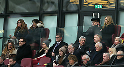 West Ham United vice-chariman Karren Brady (left) with husband Paul Peschisolido and co-owner David Sullivan (right) with partner Eve Vorley in the stands before the Emirates FA Cup, third round match at London Stadium.