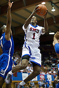 Ryan Manuel #1 of the SMU Mustangs drives to the basket against the Memphis Tigers at Moody Coliseum on Wednesday, February 6, 2013 in University Park, Texas. (Cooper Neill/The Dallas Morning News)