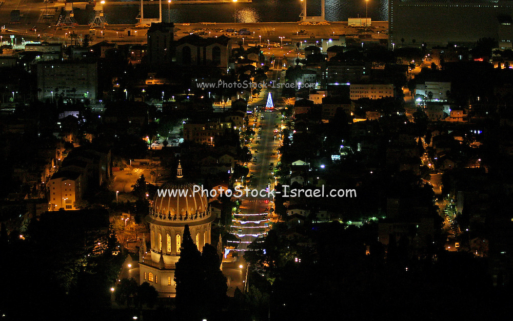 Israel, Haifa, The city is lit up with Christmas decorations Photogrphaed December 10th 2014