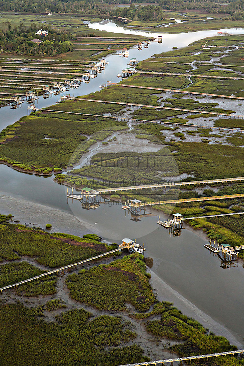 Marsh and boat docks on Hobcaw Creek in Mount Pleasant, SC.