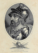 Lysander (died 395 BC) was a Spartan admiral who commanded the Spartan fleet in the Hellespont which defeated the Athenians at Aegospotami in 405 BC. The following year, he was able to force the Athenians to capitulate, bringing the Peloponnesian War to an end. He then played a key role in Sparta's domination of Greece for the next decade until his death at the Battle of Haliartus. Copperplate engraving From the Encyclopaedia Londinensis or, Universal dictionary of arts, sciences, and literature; Volume VIII;  Edited by Wilkes, John. Published in London in 1810.