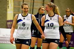 20150211 NED: Eredivisie, Sliedrecht Sport - Coolen Alterno, Sliedrecht<br /> Angelique Vergeer (6) of Sliedrecht Sport, Marlies Wagendorp (10) of Sliedrecht Sport<br /> ©2015-FotoHoogendoorn.nl / Pim Waslander