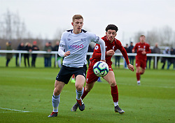 DERBY, ENGLAND - Friday, March 8, 2019: Derby County's Joe Bateman (L) and Liverpool's Curtis Jones during the FA Premier League 2 Division 1 match between Derby County FC Under-23's and Liverpool FC Under-23's at the Derby County FC Training Centre. (Pic by David Rawcliffe/Propaganda)