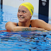 Swimming - Olympics: Day 1   Sarah Sjostrom, Sweden, after her Women's 100m Butterfly semi final win in Olympic Record time during the swimming competition at the Olympic Aquatics Stadium August 6, 2016 in Rio de Janeiro, Brazil. (Photo by Tim Clayton/Corbis via Getty Images)