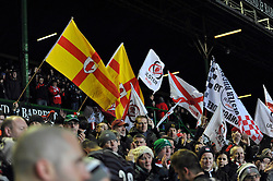 Ulster fans in the crowd show their support - Photo mandatory by-line: Patrick Khachfe/JMP - Tel: Mobile: 07966 386802 18/01/2014 - SPORT - RUGBY UNION - Welford Road, Leicester - Leicester Tigers v Ulster Rugby - Heineken Cup.