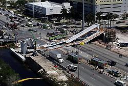 May 3, 2019 - Miami, FL, USA - Vista aérea del puente peatonal de FIU cuyo desplome dejó seis muertos en marzo del 2018. (Credit Image: © TNS via ZUMA Wire)