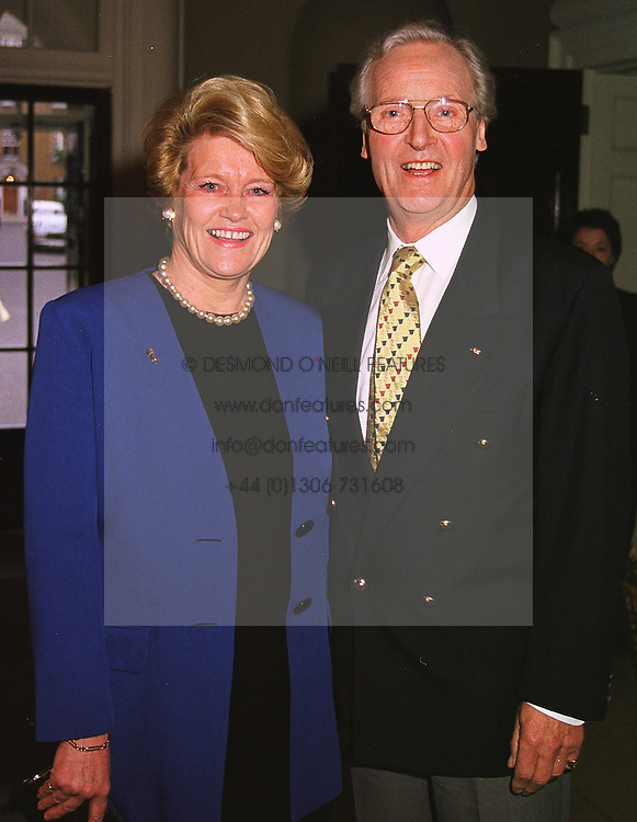 MR & MRS NICHOLAS PARSONS he is the TV presenter, at a party in London on 18th May 1999.MSE 26