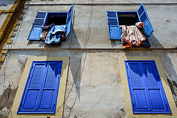Washing hanging out of upstairs windows in Essaouira, Morocco<br /> <br /> (c) Andrew Wilson | Edinburgh Elite media