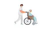 Nurse Pushing Senior Woman in a Wheel Chair