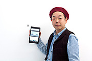 artist Yoshiaki KAIHATSU at his January 2018 solo exhibition at Gallery Hashimoto in Tokyo