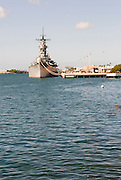 USS Missouri docked at Pearl Harbor, Hawaii.