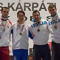 Silver medalist Aron Szilagyi (L) of Hungary, gold medalist Kim Junghwan (2nd L) of Korea and bronze medalists of Italy Diego Occhiuzzi and Luigi Samele celebrate their victory during the final of the Gerevich-Kovacs-Karpati Men's Sabre Grand Prix in Budapest, Hungary on March 09, 2014. ATTILA VOLGYI