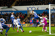 A header from Queens Park Rangers defender Geoff Cameron (5) goes wide of the goal during the EFL Sky Bet Championship match between Swansea City and Queens Park Rangers at the Liberty Stadium, Swansea, Wales on 11 February 2020.