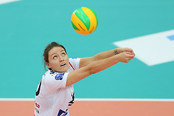 October 21, 2017 - Rzeszow, Poland - Jelena Blagojevic (Developres),  in action during CEV Volleyballl Champions League volleybal women match between Developres Rzeszow and Hapoel Kfar Saba on 21 October 2017 in Rzeszow, Poland. (Credit Image: © Foto Olimpik/NurPhoto via ZUMA Press)
