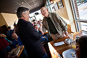 Republican presidential candidate Gov. Jon Huntsman of Utah greets supporters during a breakfast event at the Honeycomb Cafe on Daniel Island January 12, 2012 in Charleston, South Carolina.