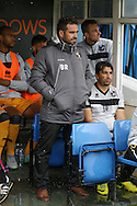 Port Vale Manager Bruno Ribiero looks on from the dugout.  EFL Skybet football league one match, Bury v Port Vale at Gigg Lane in Bury ,Lancs on Saturday 3rd September 2016.<br /> pic by Chris Stading, Andrew Orchard sports photography.