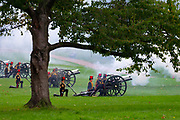 Members of the Kings Troop Royal Horse Artillery fire a 41 gun salute in Green Park London, United Kingdom on 14th October, 2019 to mark Queen Elizebeth II arrival at the Palace of Westminster. The Queens speech is expected to announce plans to end the free movement of EU citizens to the UK after Brexit, new laws on crime, health and the environment.