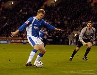 Photo: Jed Wee.<br /> Sheffield United v Birmingham City. Carling Cup. 24/10/2006.<br /> <br /> Birmingham's Nicklas Bendtner shoots past a stranded Sheffield United goalkeeper Ian Bennett to put them 2-1 up.