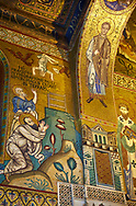 Medieval Byzantine style mosaics of St Peter & St Paul,  the Palatine Chapel, Cappella Palatina, Palermo, Italy .<br /> <br /> If you prefer you can also buy from our ALAMY PHOTO LIBRARY  Collection visit : https://www.alamy.com/portfolio/paul-williams-funkystock/byzantine-art-antiquities.html . Type -    Palatine     - into the LOWER SEARCH WITHIN GALLERY box. Refine search by adding background colour, place, museum etc<br /> <br /> Visit our BYZANTINE MOSAIC PHOTO COLLECTION for more   photos  to download or buy as prints https://funkystock.photoshelter.com/gallery-collection/Roman-Byzantine-Art-Artefacts-Antiquities-Historic-Sites-Pictures-Images-of/C0000lW_87AclrOk