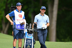 May 3, 2019 - Charlotte, NC, U.S. - CHARLOTTE, NC - MAY 03: Paul Casey goes over the next shot with his caddie on the 11th hole in round two of the Wells Fargo Championship on May 03, 2019 at Quail Hollow Club in Charlotte,NC. (Photo by Dannie Walls/Icon Sportswire) (Credit Image: © Dannie Walls/Icon SMI via ZUMA Press)