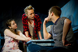 (c) London News Pictures. 16/11/2011. Sarah Hoare as Wendy(L), Victoria Bavister as Linda(M) and Charlie Hollway as Malcolm in production of 'The Biting Point' by Sharon Clark. Performed and produced by Theatre503 at The Latchmere in Battersea. Picture credit should read: Tony Nandi/London News Pictures