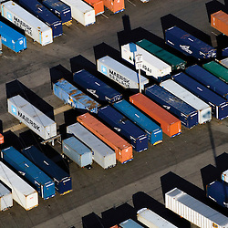 aerial view of container trucks